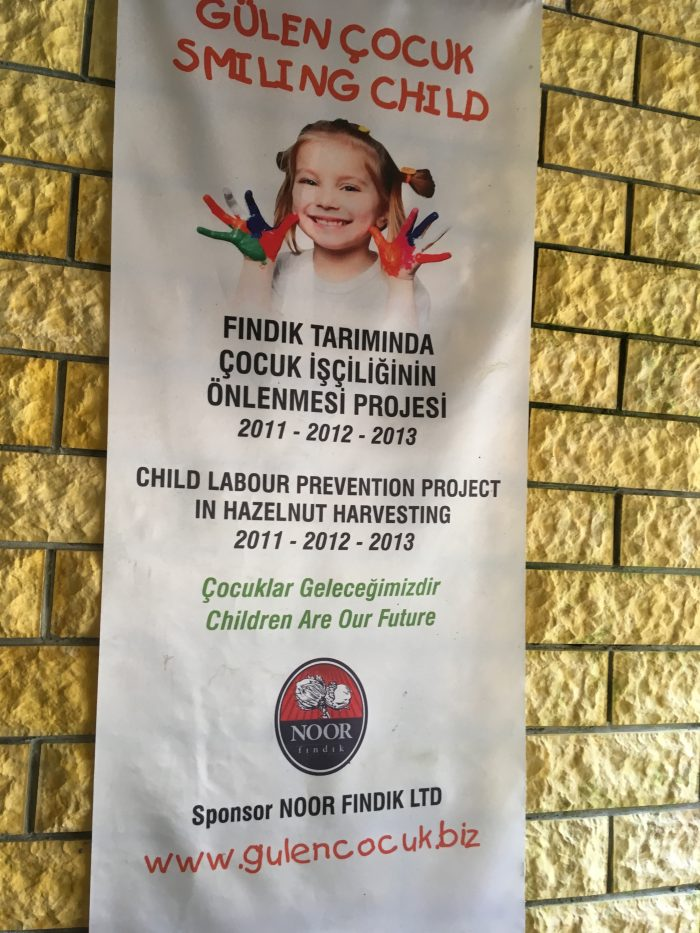 Banner child labor protection project in hazelnut