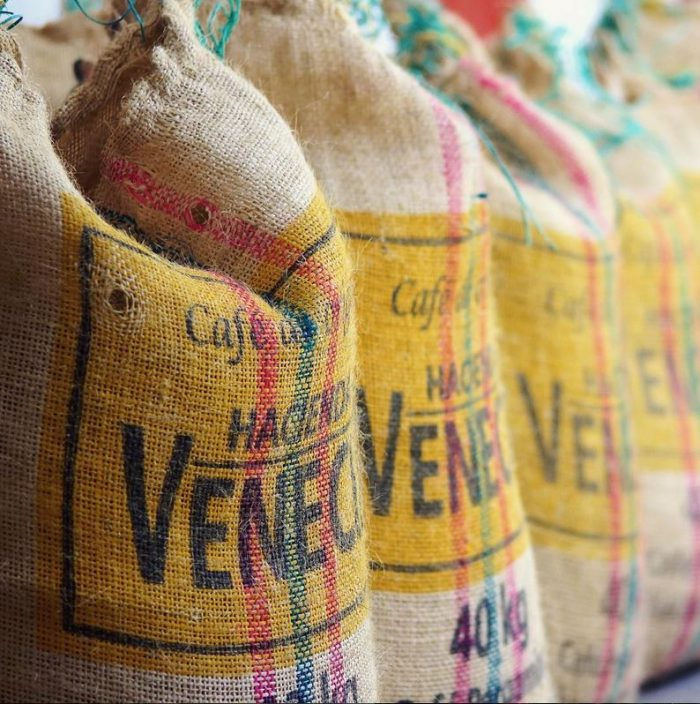 Sack of green coffee beans ready to be shipped
